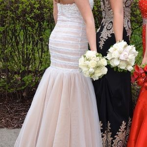 White and tan prom dress